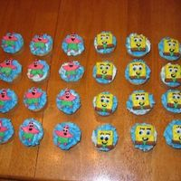Spongebob And Patrick Cupcakes Butter cupcales with buttercream icing. SpongeBob and Patrick are made from rolled buttercream.