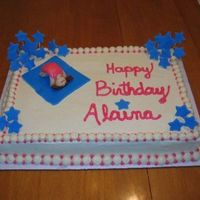 Gymnastics Birthday Butter cake with butter cream frosting. Gymnastics Birthday theme!! Stars and girl made from fondant, mats, girls clothes and hair made...