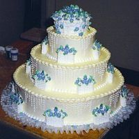 Buttercream With Royal Icing Baskets The cake is frosted in buttercream with buttercream borders and side trim. The little baskets are all royal icing as is the topper with...