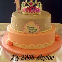 Princess/tiara Cake This is my latest cake for this past weekend. It was for a 1 yr. old birthday. It was buttercream with fondant accents. The tiara was...