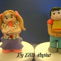 Boy And Girl Enjoying A Snack   These were made today for a cake in progress.