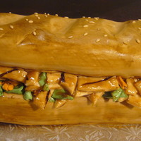 Teriyaki Sub Sandwich This was my first sculpted 3D cake, my little sister loves Teriyaki Sub Sandwiches.