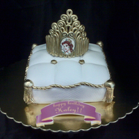 "Princess Cushion Cake This is an 8"" square covered in fondant....the tiara is fondant...image of princess is an edible image...thanks for looking!!!"