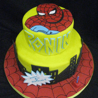 Spidey Cake spideran cake for a friend...all fondant decorations....I used sugarveil to pipe the webs...but I had big issues...after a day in the...