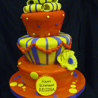 Colorful Topsy Turvy The client brought me a photo of what she wanted....this was originally a black & white cake....I don't know who the designer is...