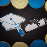 Graduation Cap And Scroll, And Plain Round To Match School Colors NFSC, Satin Ice fondant, RI details.