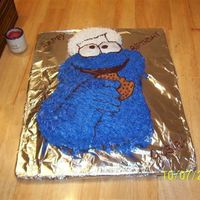 My First Creation. Cookie Monster cake w butter cream icing.