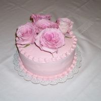 Birthday Day For Work Colleague Butter pecan with strawberry filling, pink buttercream, real roses (organic)