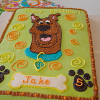 Scooby Doo Cake This cake was a chocolate cake 12X18 with a classic buttercream icing.