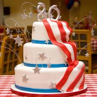 Kay's 80Th Birthday Cake Birthday girl (husband's grandmother) wanted patriotic theme. Stars and 80 are gumpaste, painted with nu silver dust and sprinkled...