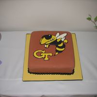 Buzz Georgia Tech Cake I realized on the way home that I forgot to add Buzz's antennae. I blame it on the pregnancy brain.
