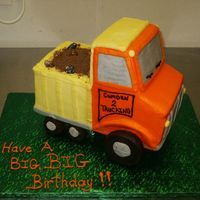 "Pict2755.jpg This is a sculpted truck that was made for a little boy. It was done with 5 6"" square cakes. Had a whole lot of fun doing this one."