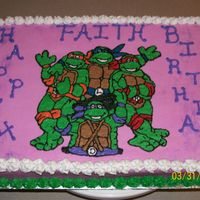 Ninja Turtle Birthday Cake Made this for a little girl who wanted TMNT on her cake. Done in buttercream.