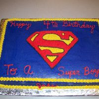 Superman Logo Birthday Cake 12X18 cake done in buttercream. They just wanted the logo, which made it easier on me.