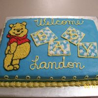 Pooh Baby Shower Cake Winnie the Pooh piping gel transfer done in buttercream for a baby shower for a neighbor.