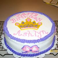Princess Birthday Cake Here is the other cake that my friend wanted on short notice. Two 10 inch rounds, one chocolate and one butter, done in buttercream icing...