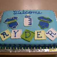 Baby Boy Shower Cake Baby boy shower cake done in buttercream.
