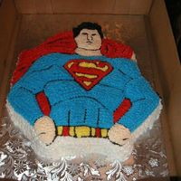 "Superman Cake This was made with the old Wilton Pan. I had the add the ""S"" on his chest with my kopykake projector."