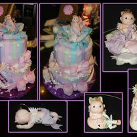 Angel Baby Shower  Angel babies and their items are gumpaste. cake is iced in BC with fondant accents. Only 3 of the 4 babies fit on the cake so I put the 4th...