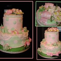 Frogs And Calla Lilies Baby Shower  Frogs, flowers, pearls, and bows are gumpaste with petal and/or luster dust. Cake and covered in fondant the polka dots are fondant also. I...