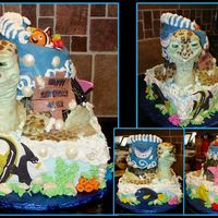 Finding Nemo  This cake was done for my nephews 2nd bday. Top cake and shell are covered in fondant the shell was painted with paste color. Turtle head...