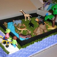 Zoo Cake 1/4 sheet 2 layer chocolate cake with buttercream icing.