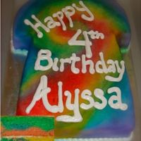 Tie - Dye T-Shirt Cake The Tie - Dye T-Shirt Cake was made for a theme party. The inside of the cake was also a rainbow marbled cake, as seen in the bottom left...