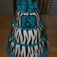 Birthday Cake With Zebra Stripes BC icing with MMF decorations