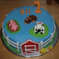 Barnyard Birthday Cake BC with MMF decorations. Idea from CC