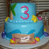 Beach Birthday Cake   Buttercream with MMF decorations.