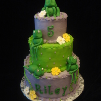 "Frog Birthday Cake  8"", 6"" and 4"" tiers. Iced in buttercream with fondant/gumpaste accents and frogs. I love how this cake turned out and the..."