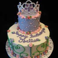 Princess Tiara Cake This is my 4th one of these cakes. I love making them, but they sure are time consuming! All buttercream, except the tiara.