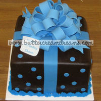 Blue Bow Package Cake Chocolate fondant package cake with fondant bow.