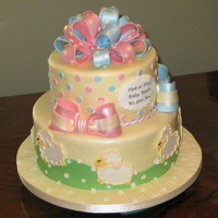 Sweet Little Lambs Baby Shower Cake I delivered this cake to the venue today but was a little early...by two weeks. LOL At least I can remove the bows and the lambs to use for...