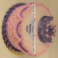 Pink And Purple With Tiara Simple buttercream cake with a gumpaste tiara.