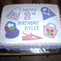 """purses"" Birthday Cake She wanted purses on her cake and hair stuff, like combs and brushes. I was glad to hear that. I finally got to use the comb and brush..."