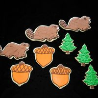Beavers, Acorn & Pine Tree Cookies  These were for a reunion at Beaver Creek state park. Sugar cookies with royal icing. Iced smoiooth and then painted on more icing for...