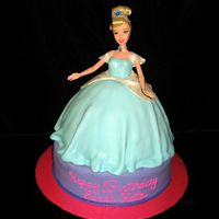 Cinderella   Wonder mold Cinderella atop 9 in. round. Covered in fondant and painted with sparkle dust.