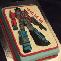Transformer Fondant plaque. Transformer made with layering fondant cutouts.