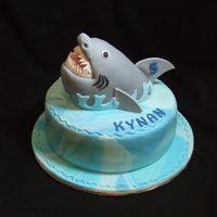 Shark Attack!! Shark is made from rice krispies (my first time try with RK) and then covered with fondant. Choco cake with fondant covering.