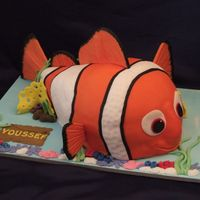 3D Nemo Used a ball pan on top of a 9 x 13 rectangle cake and then carved it.Made fins in advance with support of cardboard and attached topopsicle...