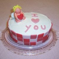 I Love You Iced in buttercream with square tiles and cupid made of MMF. Experimenting with MMF for the second time.