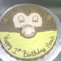 Monkey Cake Chocolate cake with choc frosting for the hair. Nilla Wafers for the ears. It looked better in person.