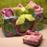 "Gift Bag This is my first attempt at a gift bag cake. I meant to carve out a little area in the top for placing the MMF ""tissue paper"",..."