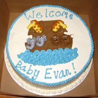 Noah's Ark Baby Shower Vanilla cake with IMBC icing. Inspiration for this cake came from several others seen on this site - thanks!