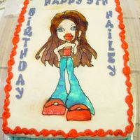 Bratz Cake Still working on getting my airbrush skills up to par. Enjoyed doing this one though. Chocolate cake with crusting cream cheese frosting. I...