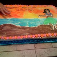Luau_Cake.jpg Well, this is the biggest cake I have ever done. It was a full sheet cake. Hubby made me put my boney hand in the pic. for size reference....