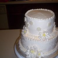 Wedding Cake I Did For A Co-Worker.  This is my first attempt at doing a wedding cake for anyone. I have not even had a formal training class yet!! The bride is a co-worker of...