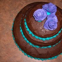 Cake The chocolate icing is VeganThe cake is Veganand the blue dots and purple flowers are buttercream icing