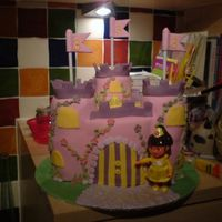 "Dora Fairy Castle  Dora Fairy Castle Cake - for my daughter's 3rd birthday - made using 3x7inch rounds and 9x3""rounds for turrets. Sponge cake..."